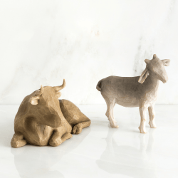 Ox And Goat for the Nativity (Noël) - 2 figurines - résine